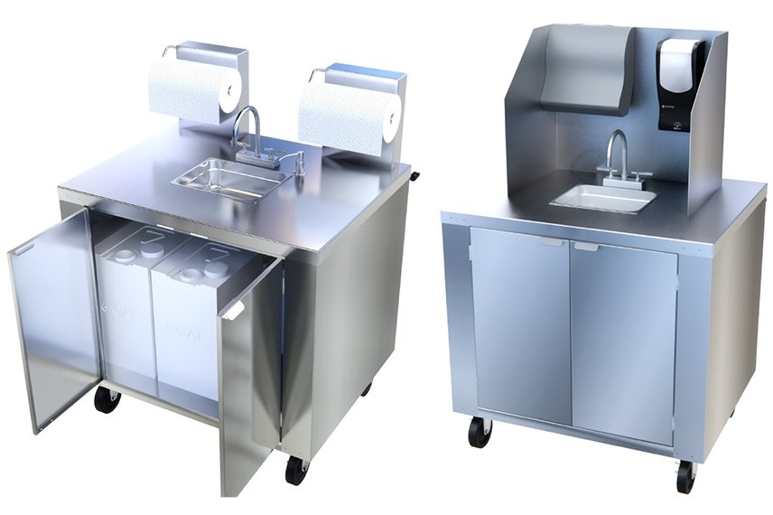 Two versions of the Mobile Handwashing Station