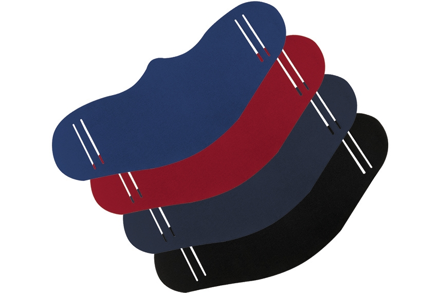 Four versions of the Contour Reusable Face Mask, in colors Blue, Red, Grey, and Black.