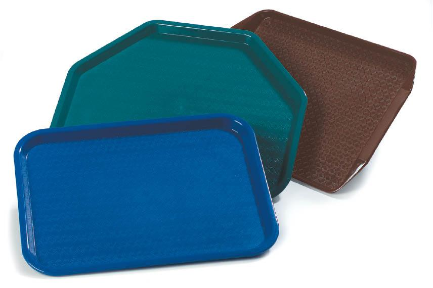 Group photo of blue green and brown trays