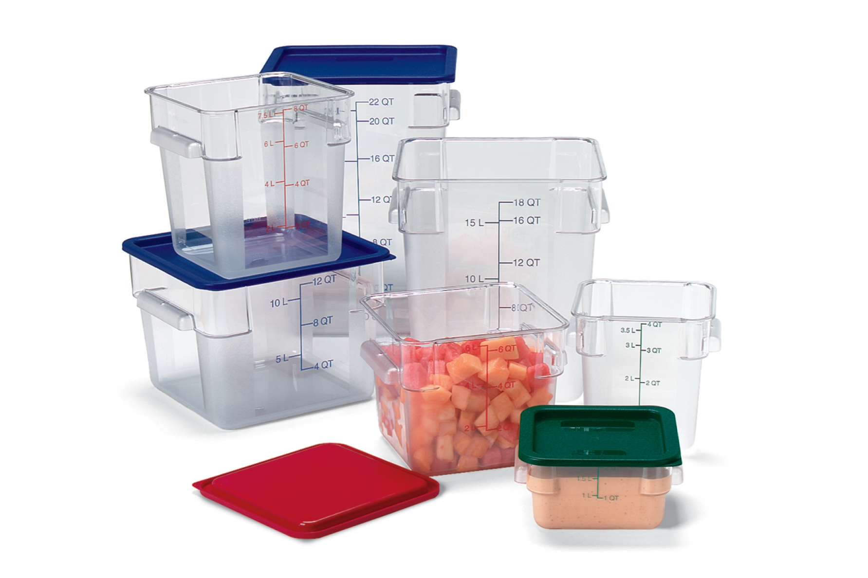 Optically clear containers allow a quick view inside and you know what remains with molded-in capacity indicators. Transporting full containers is easier ...  sc 1 st  Carlisle FoodService Products & StorPlus™ Square Food Storage Containers | Carlisle FoodService Products